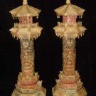 Exquisite Bone Art Handicraft Carving Pair Dragon Tower