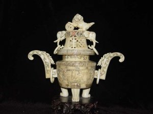 Exquisite Bone Art Handicraft Carving Dragon Foo Dog Fume Stove