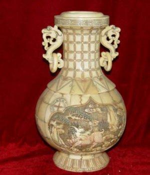 Exquisite Bone Art Handicraft Carving Kylin Design Vase