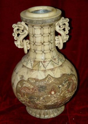Exquisite Bone Art Handicraft Carving Double Dragon Play SUn Vase
