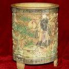 Exquisite Bone Art Handicraft Carving longevity God Pen Vase