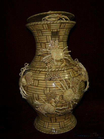 Exquisite Bone Art Handicraft Carving Crab Basket
