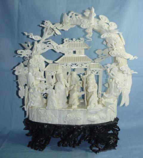 Exquisite Bone Art Handicraft Carving Three God wonderland
