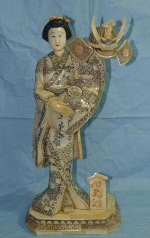 Exquisite Bone Art Handicraft Carving Lady Hold Gen. Cap