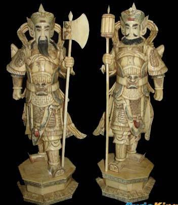 Exquisite Bone Art Handicraft Pair Safety Door God Statue