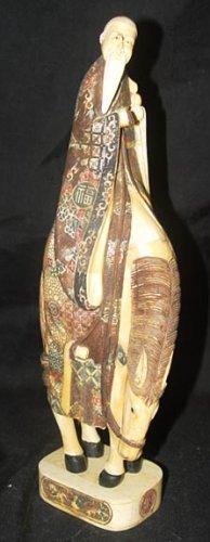 Exquisite Bone Art Handicraft Lucky immortal Ride donkey Statue