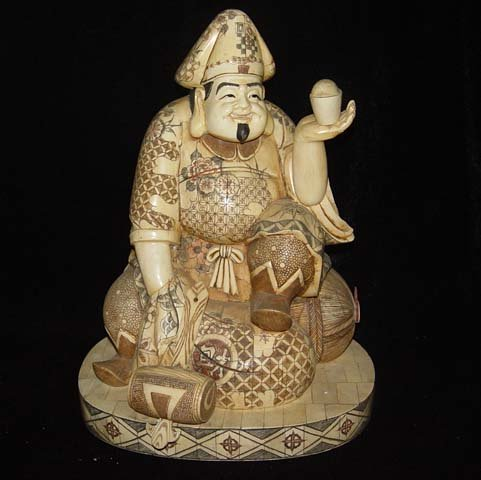 Exquisite Bone Art Handicraft Wealth God Bring Fortune Statue