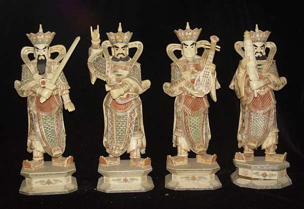 Exquisite Bone Art Handicraft Four Lucky God Statue