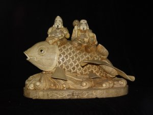 Exquisite Bone Art Handicraft Two Wealth God Ride Fish Figure