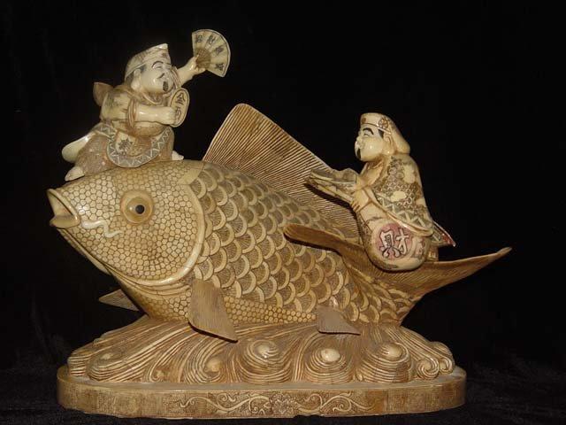 Exquisite Bone Art Handicraft Two Fortune God Ride Fish Figure