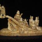 Exquisite Bone Art Handicraft Lucky Seven God By Ship Figure