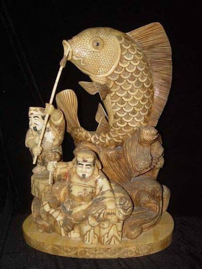 Exquisite Bone Art Handicraft Lucky Wealth God Play Fish Figure