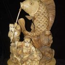 Exquisite Bone Art Handicraft Lucky Wealth God Play Fish Figure