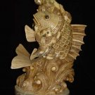 Exquisite Bone Art Handicraft Fish Lucky Wealth God Figure