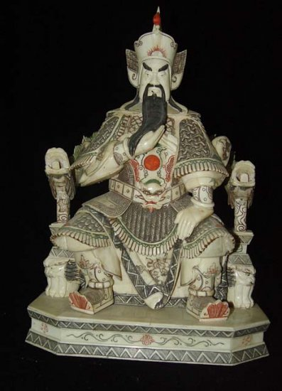 Exquisite Bone Art Handicraft Sitting Guangong God Figure
