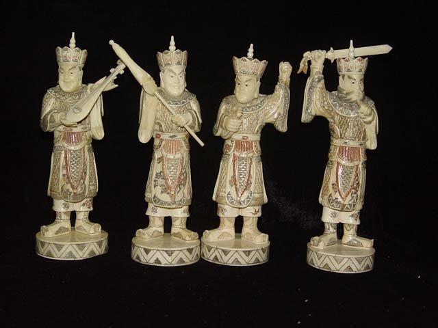 Exquisite Bone Art Handicraft Four Sky God Figure