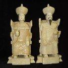 Exquisite Bone Art Handicraft Chinese Sitting emperor queen Figure