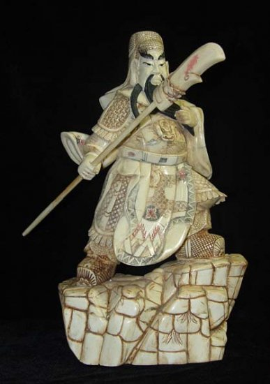 Exquisite Bone Art Handicraft Sword Guangong God Figure