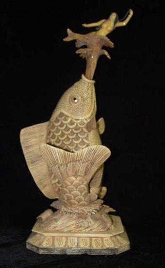 Exquisite Bone Art Handicraft Fish Nice sea-maid Figure