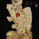 Exquisite Bone Art Handicraft Child Ride Fish Great Figure