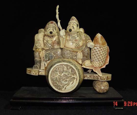 Exquisite Bone Art Handicraft Two Lucky Wealth God Great Figure
