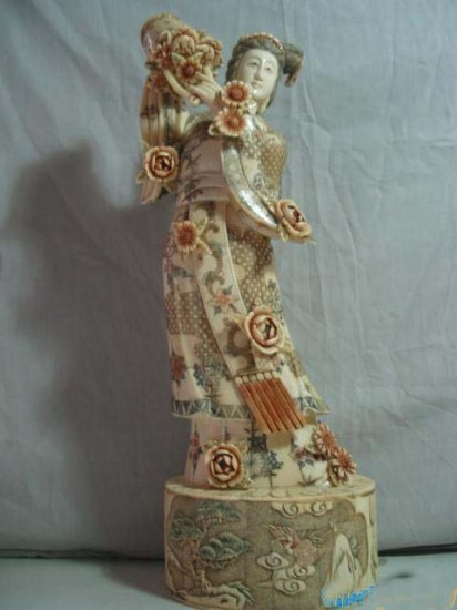 Exquisite Bone Art Handicraft Chinese Flower fairy Figure