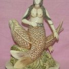 Exquisite Bone Art Handicraft sea-maiden Ride Fish  Figure
