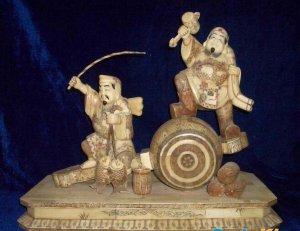Exquisite Bone Art Handicraft Lucky Two Wealth God Figure