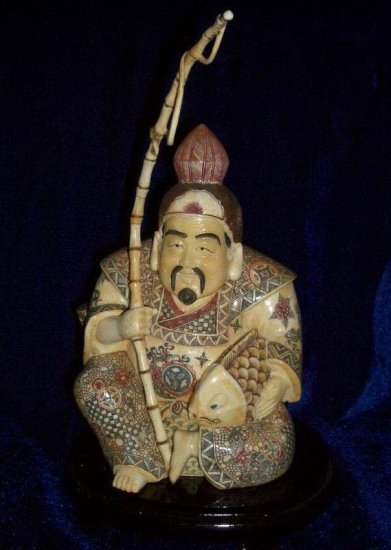 Exquisite Bone Art Handicraft Nice Fisher Figure