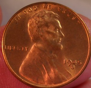 1945-S Lincoln Wheat Cents.