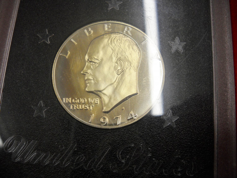 "1974-S Eisenhower  Dollar. Silver Proof. ""Brown Box"""
