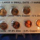 1982 Lincoln Memorial Penny.  7 Coin Set.