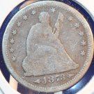 1873 25C Seated Liberty Quarter. Nice Average Circualted Coin. Open 3.  BX-5279