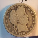 1902 Barber Quarter, Well Circulated Coin.  Bx-5422