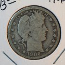 1906 Barber Quarter.  Nice Circualted Coin.  BX-5452