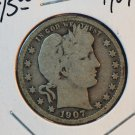 1907 Barber Silver Quarter.  Very Good Circulated Coin.  BX-5456