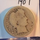 1907 Barber Silver Quarter.  Well Circulated Coin's.  BX-5464