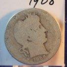 1908 Barber Quarter. Fair-2 Circualted Coin.  Silver.  BX-5474