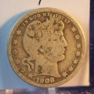 1908-O Barber Quarter.  Good Circulated Coin.  BX-5480