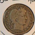 1908-D Barber Quarter.  Good Circulated Coin.  BX-5492