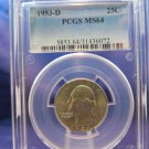 "1953-D Washington Silver Quarter.  Top Graders ""PCGS MS-64""  Brilliant Mint Luster."