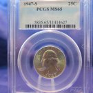 1947-S Washington Silver Quarter. Gem Brilliant Mint Luster.  Top Grader PCGS MS-65