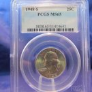 1948-S Washington Silver Quarter.  Gem Mint Luster.  PCGS MS-65