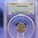 1944-S Mercury Silver Dime.  Gem PCGS MS-64.  CS #5079