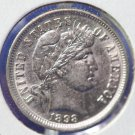 1898 Barber Dime. Choice About UN-Circulated Condition. Nice Collectible. CS#8436