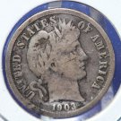 1903-S Barber Dime. Nice Strong Very Good Circulated 'Low Mintage' Liberty Head Coin. CS#8484