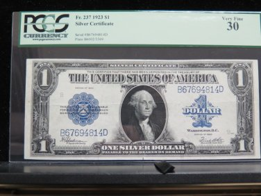 1923 $1 Silver Certificate * Large Note * PCGS VF30 * Nice Bold Colors *