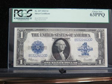 1923 $1 Silver Certificate * Large Note * PCGS -Very choice new CU 63 -Highly Collectible.
