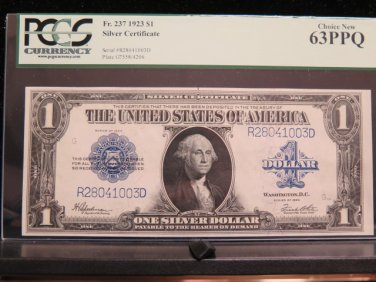 1923 $1 Silver Certificate * Large Note * PCGS -Very choice new CU 63  PPQ-Highly Collectible.