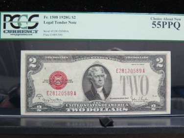 1928G Legal Tender Note - Highly Collectible - PCGS AU55, PPQ - Nice.